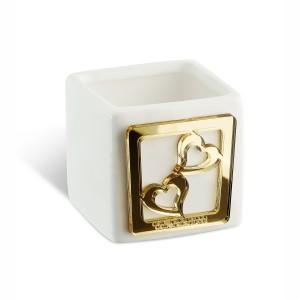 Portacandela grande in ceramica e dettaglio in plexiglass oro