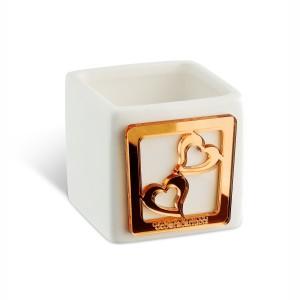 Portacandela piccola in ceramica e dettaglio in plexiglass rame