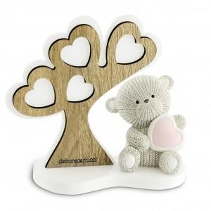 Albero della vita grande e orsetto con cuore rosa
