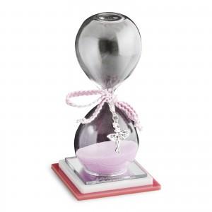 Clessidra grande rosa con ciondolo ballerina