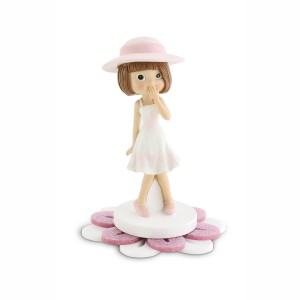 Bambina piccola con base fiore in plex glitter