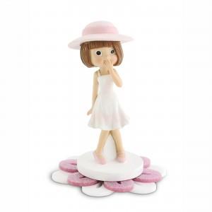 Bambina grande con base fiore in plex glitter