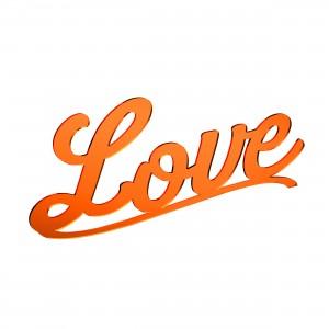 Scritta LOVE in plex specchio rame, cm 40