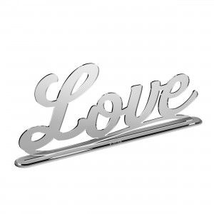 Scritta con base LOVE in plex specchio argento, cm 50