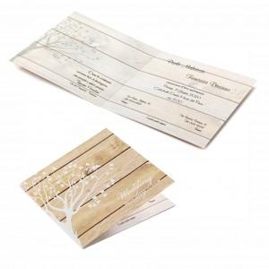 Partecipazione effetto legno vintage - con stampa