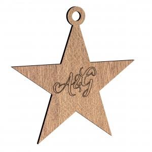 Pendente Stella in legno con incisione iniziali, cm 4x4