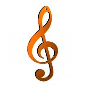 Pendente Chiave Musicale in plex specchio rame, cm 2,5x6