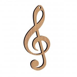 Pendente Chiave Musicale in legno, cm 2,5x6