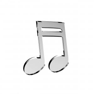 Applicazione Nota Musicale in plex specchio argento, cm 4x5
