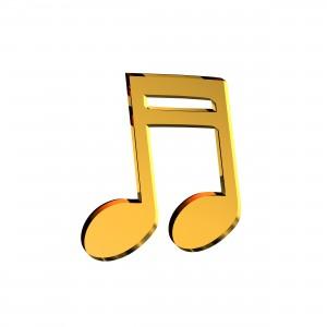 Applicazione Nota Musicale in plex specchio oro, cm 4x5
