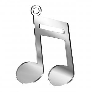 Pendente Nota Musicale in plex specchio argento, cm 4x5