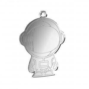 Pendente Astronauta in plex specchio argento, cm 2,5x3