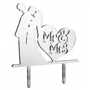 Cake Topper sposi_cuore Mr&Mrs in plex specchio argento, cm 30