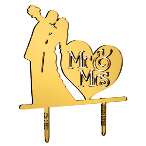 Cake Topper sposi_cuore Mr&Mrs in plex specchio oro, cm 30