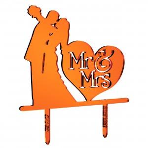 Cake Topper sposi_cuore Mr&Mrs in plex specchio rame, cm 30