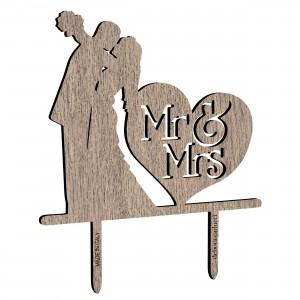 Cake Topper sposi_cuore Mr&Mrs in legno, cm 20