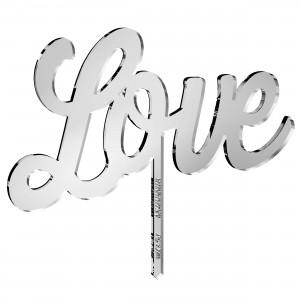 Cake Topper LOVE in plex specchio argento, cm 20