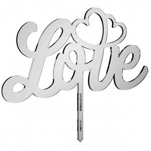 Cake Topper LOVE-CUORI in plex specchio argento, cm 30