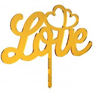 Cake Topper LOVE-CUORI in plex specchio oro, cm 25