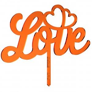 Cake Topper LOVE-CUORI in plex specchio rame, cm 20