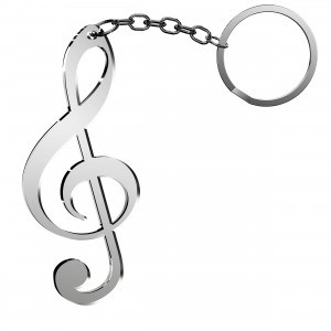 Portachiavi Chiave Musicale in plex specchio argento, cm 2,5x6