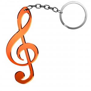 Portachiavi Chiave Musicale in plex specchio rame, cm 2,5x6