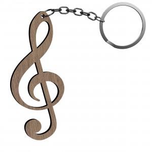 Portachiavi Chiave Musicale in legno, cm 2,5x6