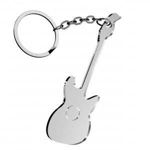 Portachiavi Chitarra in plex specchio argento, cm 4x6