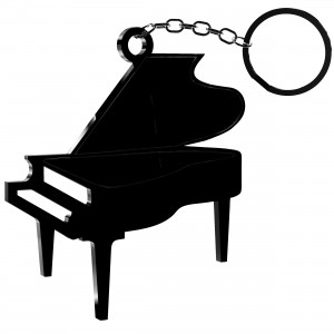 Portachiavi Pianoforte in plex nero, cm 5x5