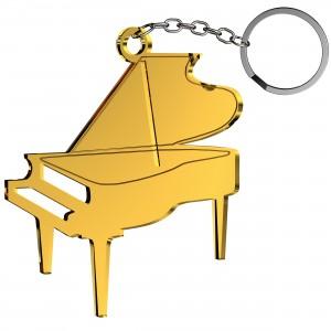 Portachiavi Pianoforte in plex specchio oro, cm 5x5