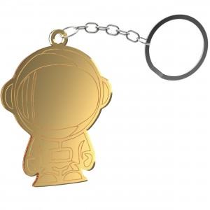 Portachiavi Astronauta in plex specchio oro, cm 4,5x5