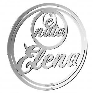 Pendente nascita con nome in plex specchio argento, cm 20ø