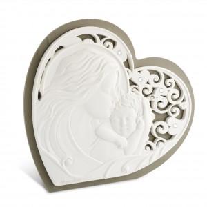 Icona grande a forma di cuore in resina e plex tortora Maternità