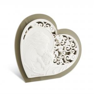 Icona media a forma di cuore in resina e plex tortora Maternità