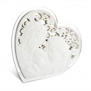 Icona grande a forma di cuore in resina e plex argento Sacra Famiglia