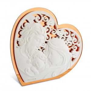 Icona grande a forma di cuore in resina e plex rame Sacra Famiglia
