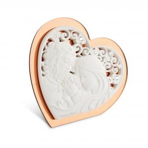 Icona media a forma di cuore in resina e plex rame Sacra Famiglia