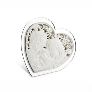 Icona piccola a forma di cuore in resina e plex argento Sacra Famiglia
