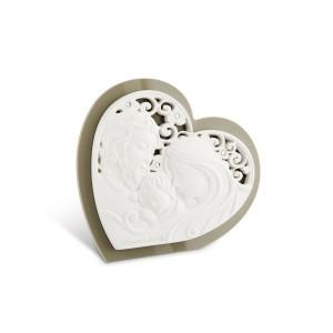 Icona piccola a forma di cuore in resina e plex tortora Sacra Famiglia