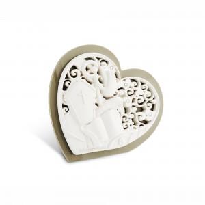 Icona piccola a forma di cuore in resina e plex tortora per Cresima