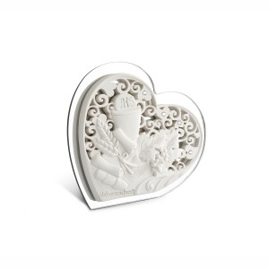 Icona piccola a forma di cuore in resina e plex argento Comunione
