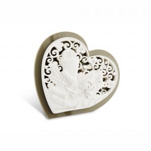 Icona piccola a forma di cuore in resina e plex tortora Comunione