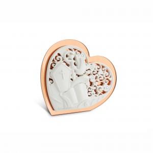 Icona piccola a forma di cuore in resina plex rame Cresima