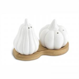 Set Sale&Pepe a forma di zucca in ceramica con base in bamboo
