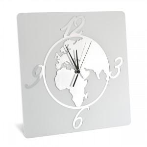 Orologio da tavolo in legno con mondo in plex argento