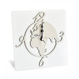 Orologio da tavolo in legno con mondo