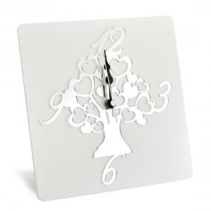 Orologio da tavolo in legno con albero della vita in plex argento