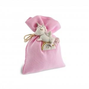 Sacchetto rosa con unicorno magnete