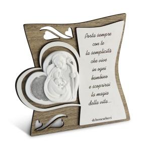 Icona in legno con poesia incisa Sacra Famiglia