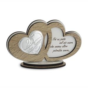 Icona cuori in legno con frase 25° anniversario